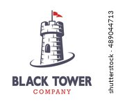 knight black tower logo with... | Shutterstock .eps vector #489044713