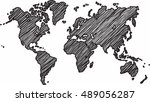 freehand world map sketch on... | Shutterstock .eps vector #489056287