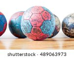 dirty red and blue handball... | Shutterstock . vector #489063973