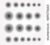 set of halftone circles ... | Shutterstock .eps vector #489070663