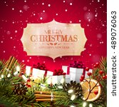 christmas greeting card with... | Shutterstock .eps vector #489076063