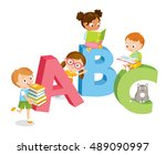 cute kids with books reading | Shutterstock .eps vector #489090997
