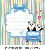 daddy and baby panda in a blue... | Shutterstock .eps vector #489094957