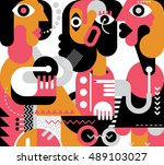 two women are speaking in a... | Shutterstock .eps vector #489103027