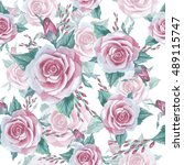 wildflower rose flower pattern... | Shutterstock . vector #489115747