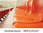 line of orange chairs with...   Shutterstock . vector #489119167