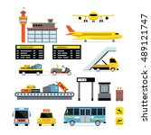airport object flat design set  ... | Shutterstock .eps vector #489121747