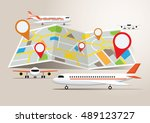 map with planes and destination ... | Shutterstock .eps vector #489123727