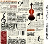 treble clef and notes on... | Shutterstock .eps vector #489126457