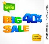 big sale ten percent... | Shutterstock .eps vector #489128983