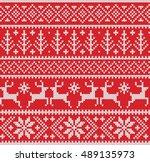 christmas fairisle sweater... | Shutterstock .eps vector #489135973