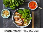 vietnamese pho with duck with... | Shutterstock . vector #489152953