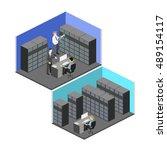 isometric interior of server... | Shutterstock .eps vector #489154117