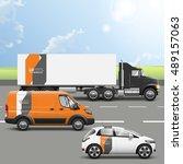 orange transport advertising... | Shutterstock .eps vector #489157063