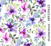 floral pattern. watercolor... | Shutterstock . vector #489159613