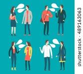 set of cartoon speaking people... | Shutterstock .eps vector #489163063