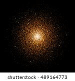gold sparkles isolated on dark... | Shutterstock .eps vector #489164773