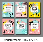christmas sale backgrounds ... | Shutterstock .eps vector #489177877