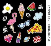 fashion patch badges with...   Shutterstock . vector #489183127
