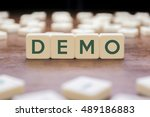 demo word on square concept | Shutterstock . vector #489186883