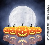 halloween carved pumpkins  ... | Shutterstock . vector #489188323
