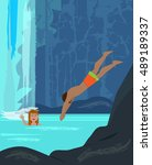 fun by the waterfall   man and... | Shutterstock .eps vector #489189337