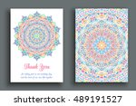 vector thank you note. flourish ... | Shutterstock .eps vector #489191527