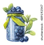 blueberry. watercolor botanical ... | Shutterstock . vector #489192547