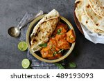 butter chicken served with... | Shutterstock . vector #489193093