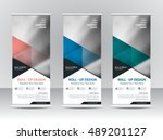 roll up banner stand template...   Shutterstock .eps vector #489201127
