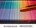 weaving shuttle on the color... | Shutterstock . vector #489209383