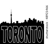 Toronto skyline black silhouette on white illustration - stock vector