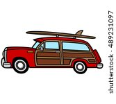 woodie surf wagon | Shutterstock .eps vector #489231097