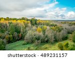 aerial view of autumn forest...   Shutterstock . vector #489231157