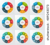 set of pie chart circle... | Shutterstock .eps vector #489243073