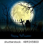 graveyard cemetery tomb in... | Shutterstock .eps vector #489245803