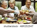 group of senior retirement meet ... | Shutterstock . vector #489252547
