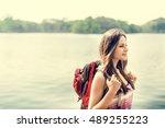 backpacker casual travel... | Shutterstock . vector #489255223