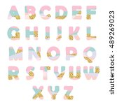 modern abstract font with... | Shutterstock .eps vector #489269023