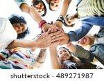college students teamwork... | Shutterstock . vector #489271987