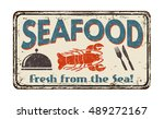seafood  vintage rusty metal... | Shutterstock .eps vector #489272167