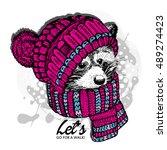 vector raccoon in a pink... | Shutterstock .eps vector #489274423
