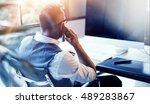 closeup bearded businessman... | Shutterstock . vector #489283867