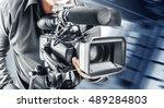 video operator records video on ... | Shutterstock . vector #489284803
