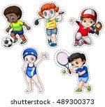 sticker set of children playing ... | Shutterstock .eps vector #489300373