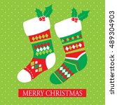 christmas card with christmas... | Shutterstock .eps vector #489304903