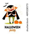 cartoon vampire with bats.... | Shutterstock .eps vector #489328573