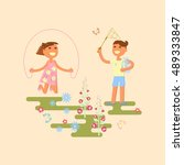illustration of kids playing... | Shutterstock .eps vector #489333847
