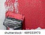 paintbrush with red paint ... | Shutterstock . vector #489333973