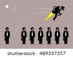 businessman flying away with a... | Shutterstock .eps vector #489337357